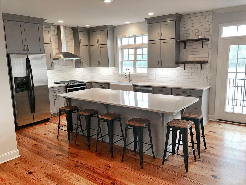 Kitchen Design, New Tile, Shelves, Cabinets, Stainless Steel Appliances
