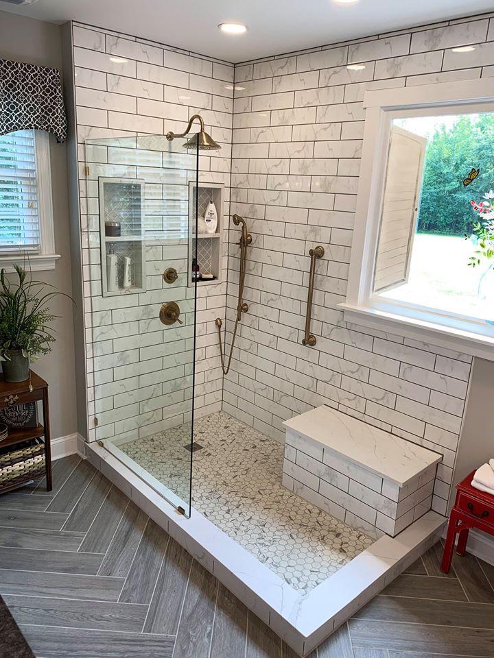 New Bathroom, Walk-in Shower, Tile, Marble, Glass