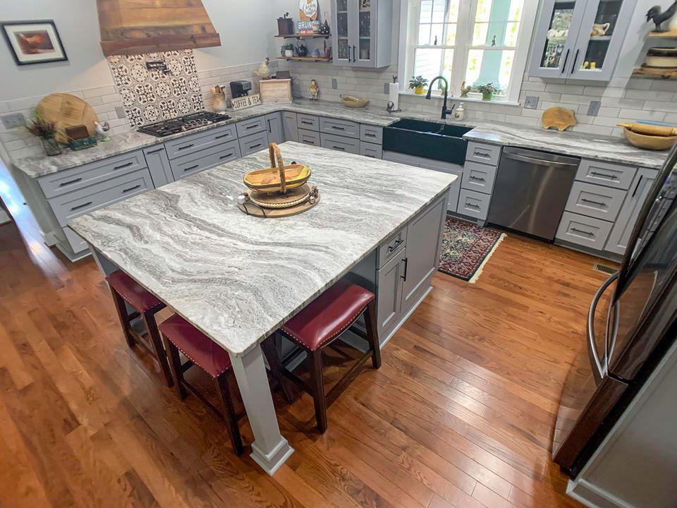 New Farm Kitchen Design, Custom Stove Hood, Granite Counter Tops