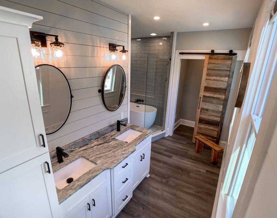 Bathroom Design, New Tile, Barn Door, Modern Mirrors, Modern Lighting